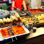 the infamous Korean fried street food in Hongdae in Seoul, Seoul Special City, South Korea