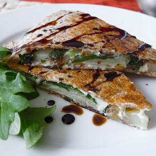 Arugula, Pear & Red Potato Quesadilla with Apple Balsamic Reduction