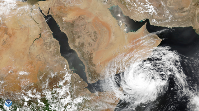The NOAA-20 satellite captured this image of severe tropical cyclone Mekunu nearing the southern Arabian Peninsula on 24 May 2018. Photo: NOAA National Environmental Satellite, Data, and Information Service (NESDIS)