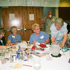 Helene has some fun with Roy Ellen Hammonn while collecting money for the Auction.  Also in picture left Paula Poll and Virginia Melton.