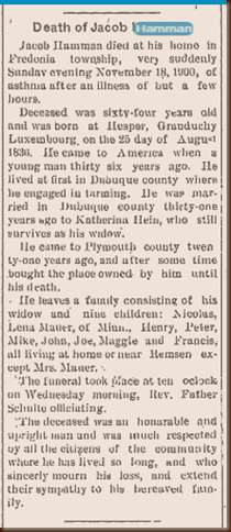 Hamman Jacob 1900 obit
