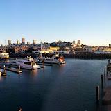 Pier 39. Coit Tower on the far left, golden gate on the far right.