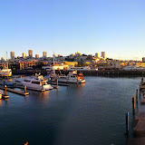 Pier 39. Coit Tower on the far left, golden gate on the far right.