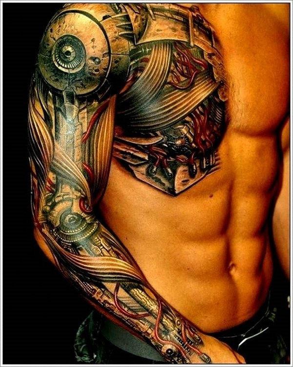 de_manga_comprida_e_meio_de_peito_de_biomecnica_da_tatuagem