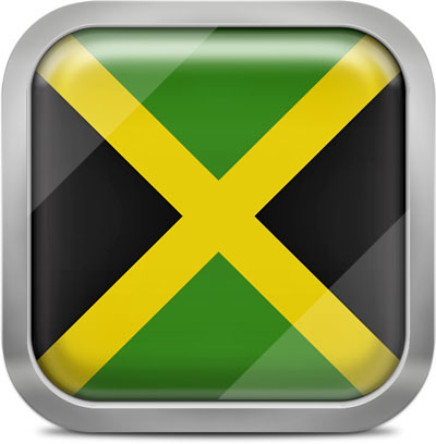 Jamaica square flag with metallic frame