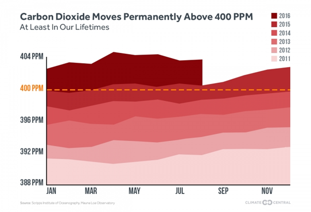 Global atmospheric CO2 concentration, 2011-2016. The lower value of CO2 concentration passed 400 ppm in September 2016, and won't fall below 400 ppm 'ever again for the indefinite future.' Graphic: Climate Central / Scripps Institute of Oceanography / Mauna Loa Observatory