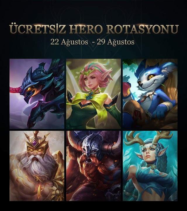 Arena of Valor 22 Ağustos 29 Ağustos Ücretsiz Oynayabileceğiniz Kahramanlar