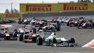 Race start into 2nd corner
