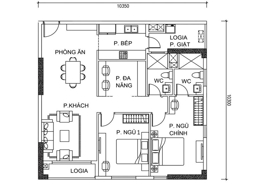 Thông số chi tiết căn hộ 2 phòng ngủ DT: 96,54m2