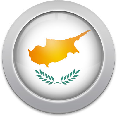 Cypriot flag icon with a silver frame