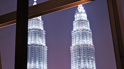 Night view of the Twin Tower from the Pool area