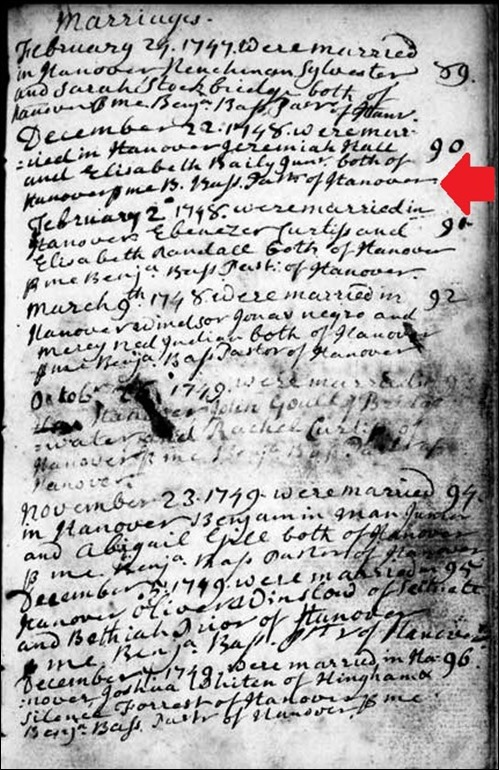 HALL_Jeremiah marriage to Elizabeth BAILY junr_22 Dec 1747-48_HanoverMass_image_annotated