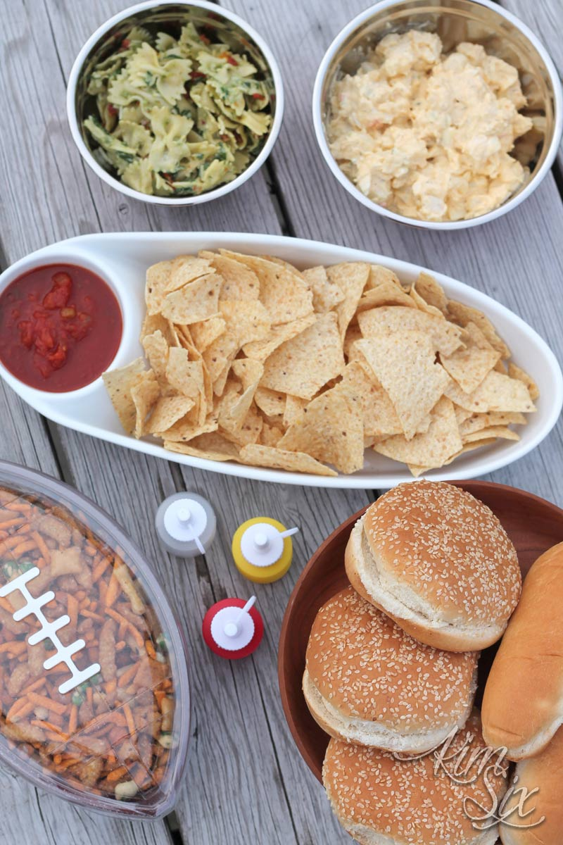 Side dishes and chips and salsa