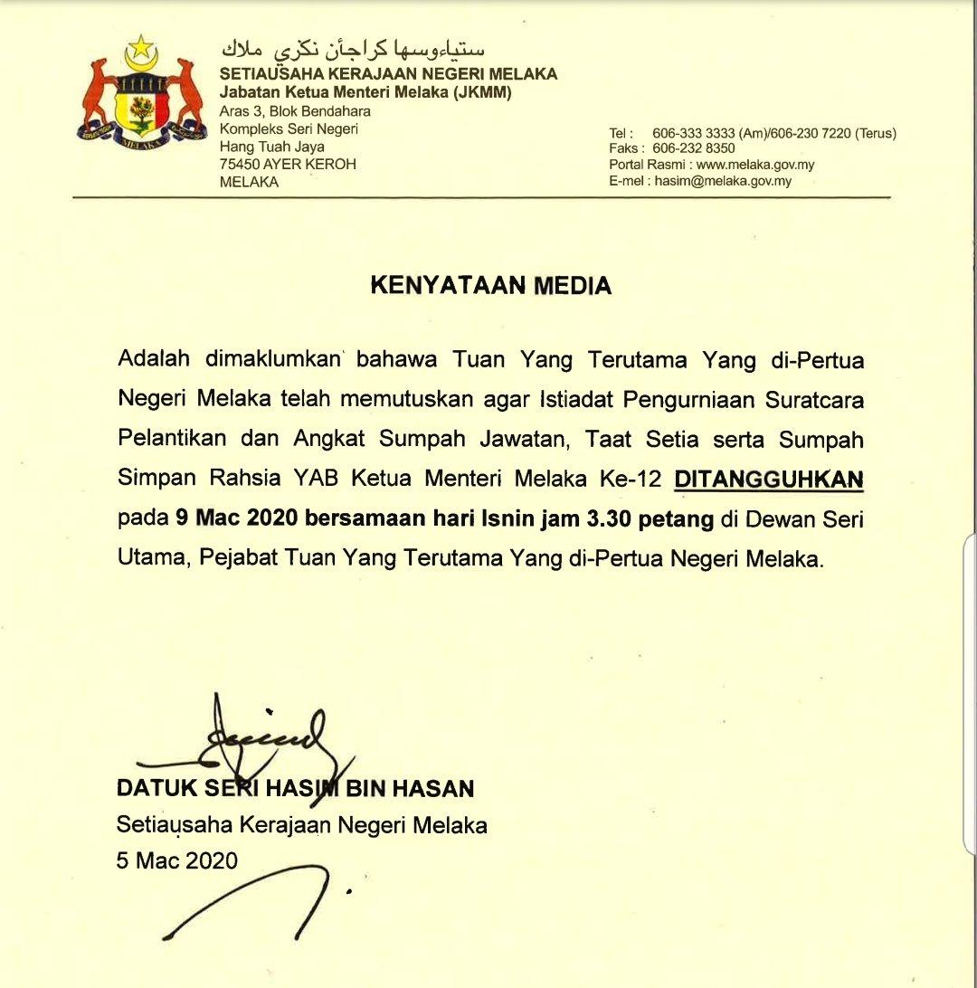 Pelantikan Ketua Menteri Melaka Ditangguh