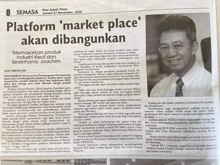 Sabah developing marketplace platform to promote local SMI products