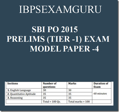 SBI PO Prelims (Tier-1) Model paper –4 EBook