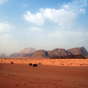 Wadi Rum in the morning by Lucija Janša - Landscapes Deserts ( desert, jordan, travel, wadi rum, landscape, middle east )