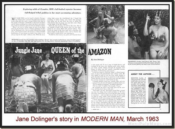 MODERN MAN, March 1963 Jungle Jane Dolinger p1&2
