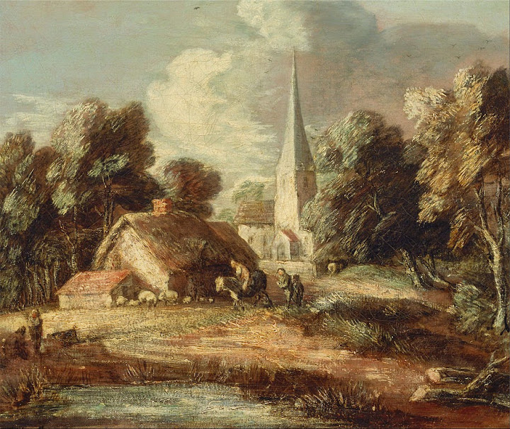 Thomas Gainsborough - Landscape with cottage and church