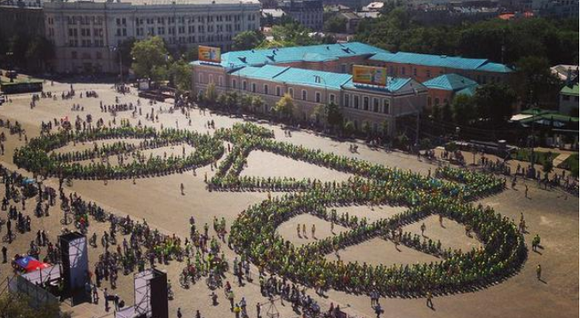 рекорд Украины фигура велосипеда