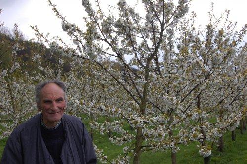 Piet Chrispeels vertelt fier over de bloesems in het natuureducatief centrum De Paddenbroek