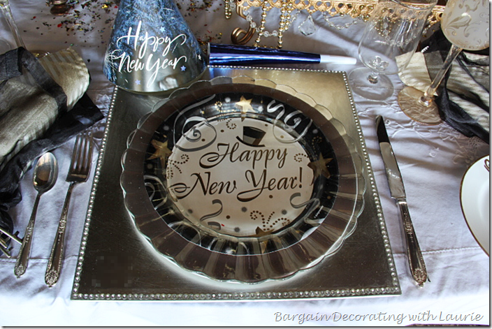 Paper Plate under Glass Dinner Plate for New Years