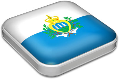 Flag of San Marino with metallic square frame