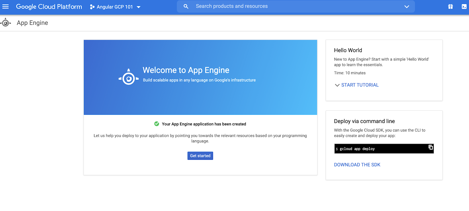 Enabling the App Engine API on gcp console