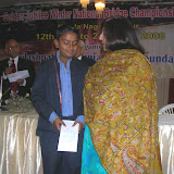 2008 Winter Nationals - Babhru, the youngest participant of the Nationals getting a special Prize from Chief Guest