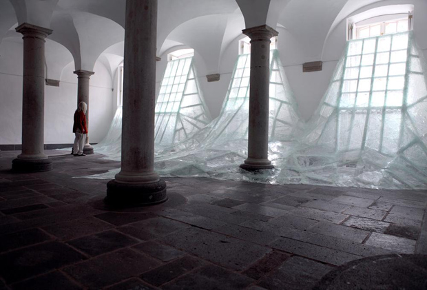 Shattered Glass Installation by Baptiste Debombourg