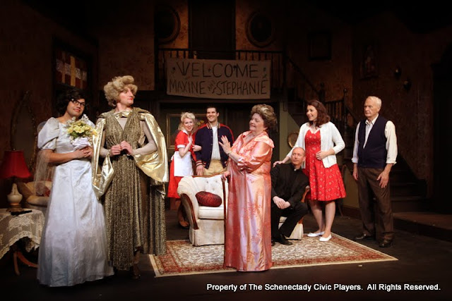 Jimmy Cupp, Paul Dedrick, Meigg Jupin, Ryan Davis, Sally Farrell, Mark Stephens, Amy Lamena and Phil Sheehan in LEADING LADIES - October 2011.  Property of The Schenectady Civic Players Theater Archive.
