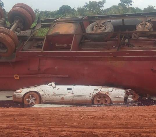 Lucky Man Walks Out Unhurt as Fuel Laden Tanker Crushed His Car (Photos)