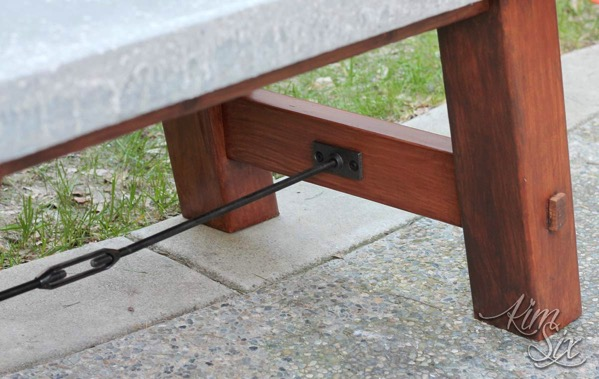 Industrial turnbuckle hardware on coffee table