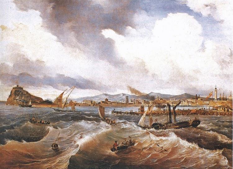 El vapor EL BALEAR arribando al puerto de Barcelona.Antonio de Brugada, 1838. Fundación Santamarca. Madrid.jpg