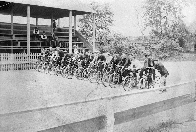 Photo: Markus Mercury Wheel Club, Flushing Race Track, bicyclists ready to race in June of 1894. (Courtesy NYC Municipal Archives)
