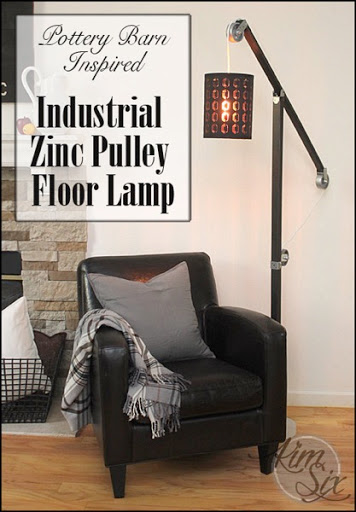 Pottery Barn Inspired Industrial Pulley Floor Lamp