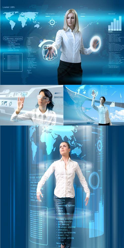 Attractive with interface in futuristic interior 2