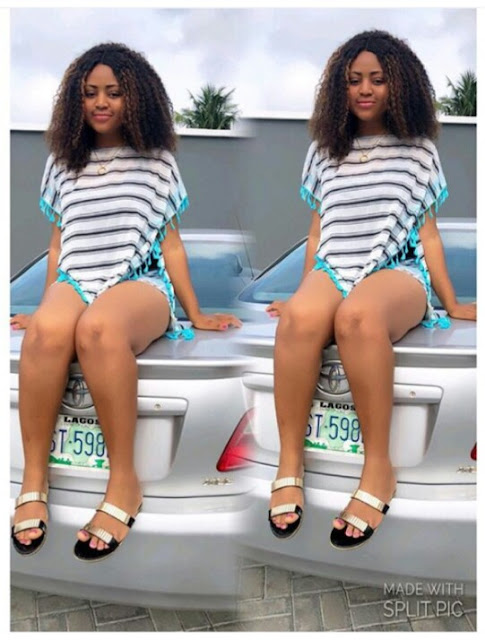 Nollywood teen actress Regina Daniels shares beautiful pictures as she poses with her car, caption with the trending quote; ' Fine girls like us ❤️ Na God they rush me'.