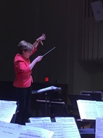 Susan Haig enthusiastically leads the South Orange Symphony in rehearsal