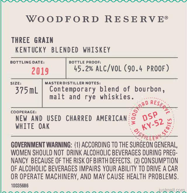 Woodford Reserve Three Grain Kentucky Blended Whiskey