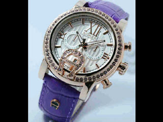 Jual jam tangan Aigner romawi ring purple leather