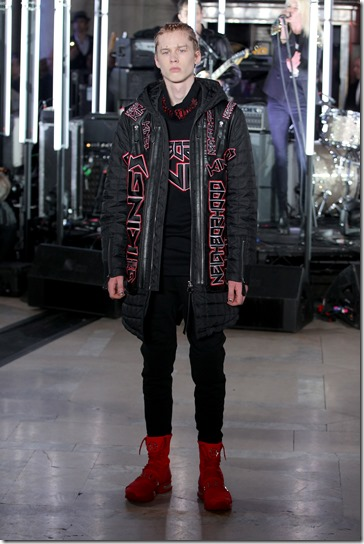 NEW YORK, NY - FEBRUARY 13:  A model walks the runway wearing look # 18 for the Philipp Plein Fall/Winter 2017/2018 Women's And Men's Fashion Show at The New York Public Library on February 13, 2017 in New York City.  (Photo by Thomas Concordia/Getty Images for Philipp Plein)