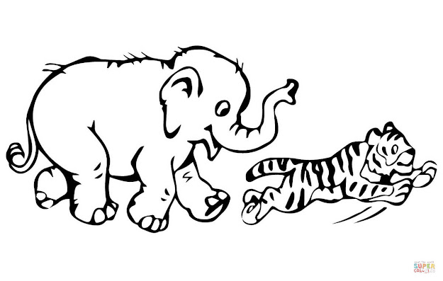 Click The Tiger Cub Plays With Baby Elephant Coloring Pages