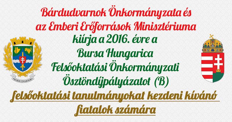 Bursa Hungarica pályázat - leendő felsőoktatási hallgatók 2016