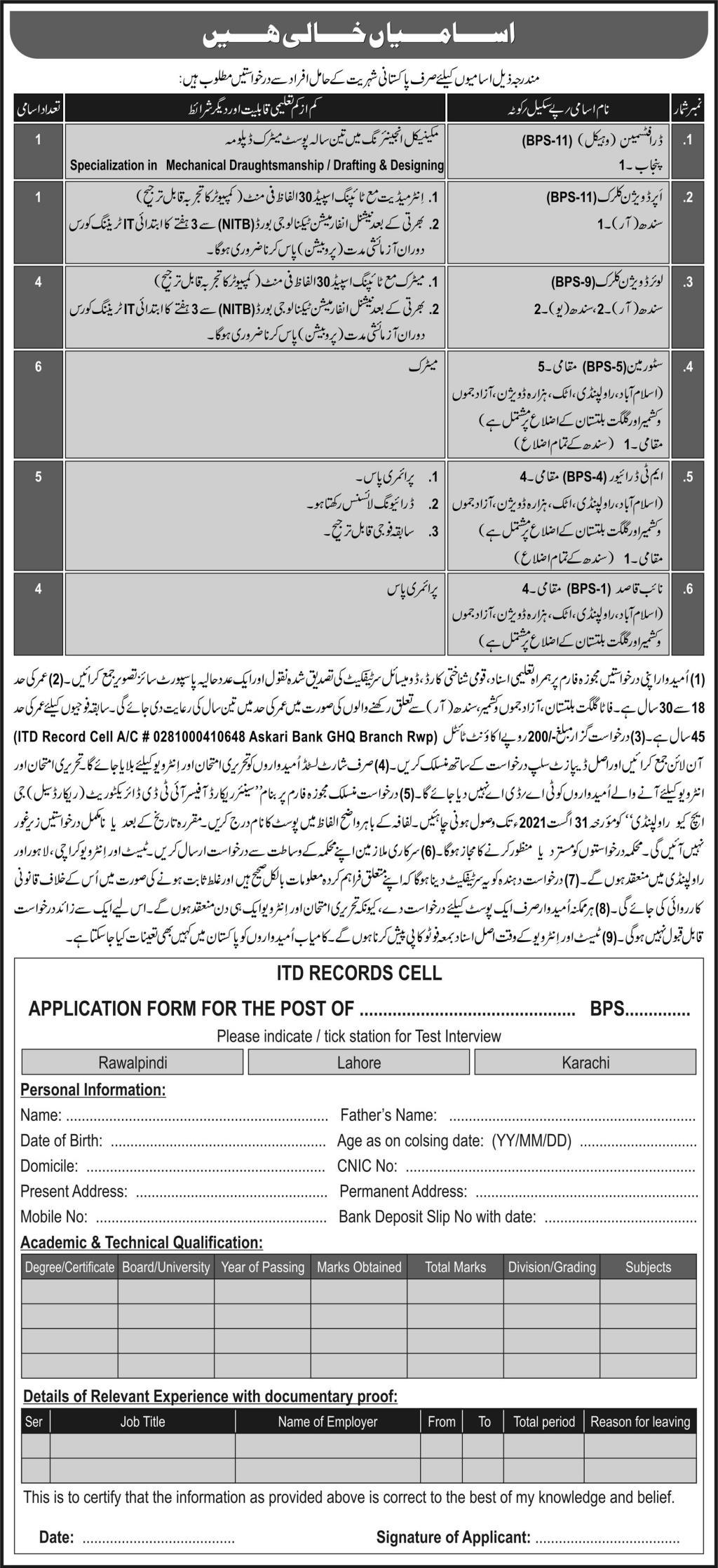 Pak Army Civilian Jobs 2021 Download Application Form