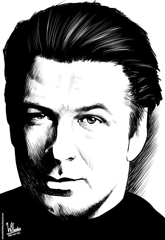 Ink drawing of Alec Baldwin, using Krita 2.4.