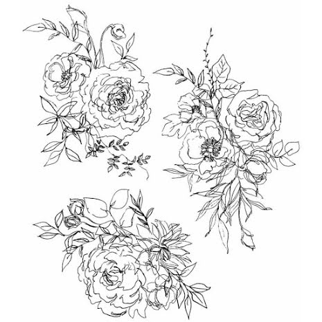 Tim Holtz Cling Stamps 7X8.5 - Floral Outlines
