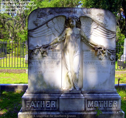 Peter & Mary Schafer Angel at Bonaventure Cemetery