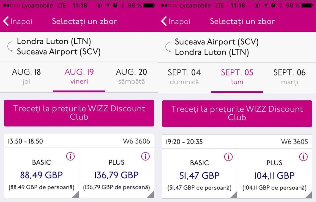 Bilete Wizz Air miercuri dimineaţă