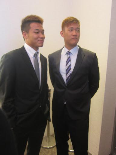 許基宏(圖右)與王柏融。(TSNA資料照)